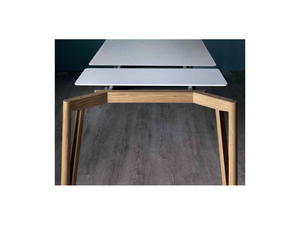 Miniforms: Decapo: стол обеденный  раскладной (орех, черное стекло)
