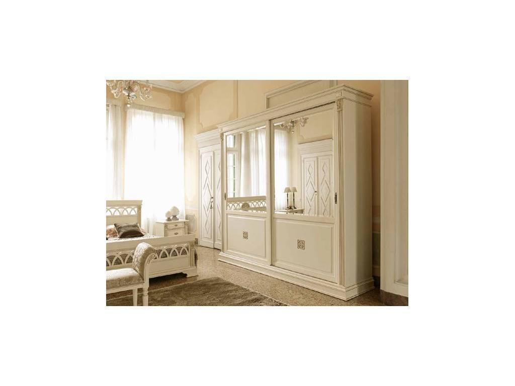 Saoncella: Puccini: шкаф-купе  2-х дверный с зеркалами (белый античный, золото)