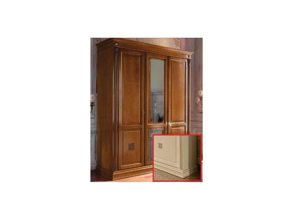 Saoncella: Puccini: шкаф 3-х дверный  с зеркалом (белый античный, золото)