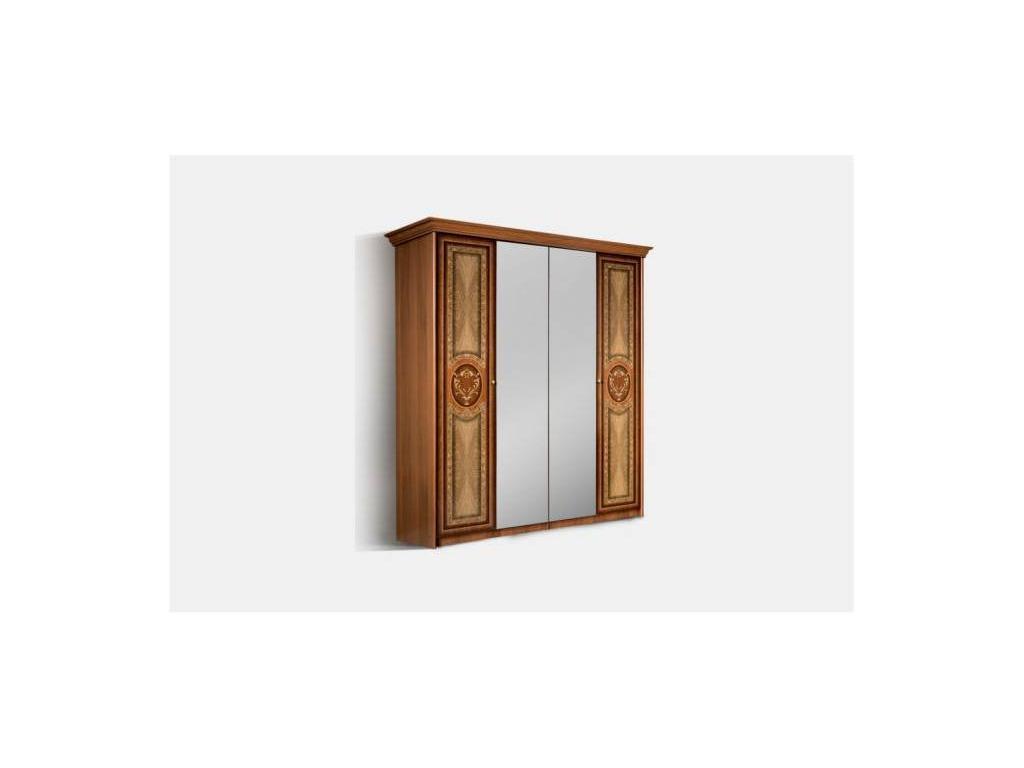 ЯМ: Карина-1: Шкаф 4-х дверный   2 зеркала (орех)