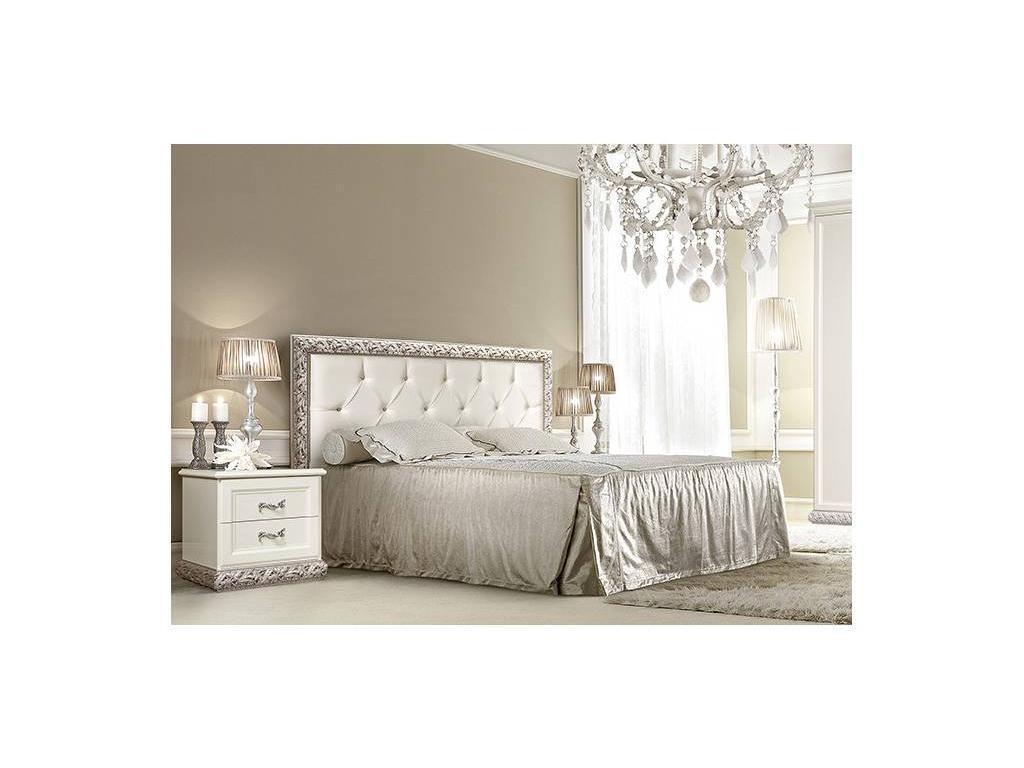 ЯМ: Тиффани: кровать  140х200 с мягким эл-м со стразами (крем, серебро)