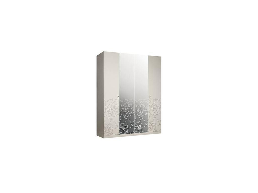 ЯМ: Роза: шкаф 4-х дверный  с зеркалами (слоновая кость)
