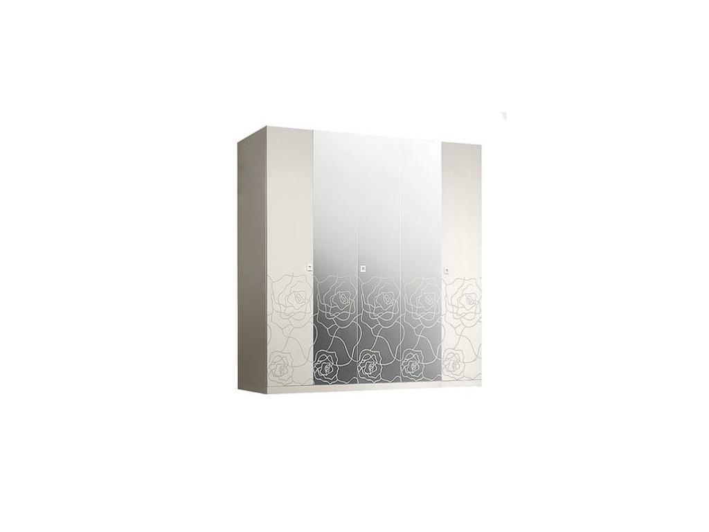 ЯМ: Роза: шкаф 5-ти дверный  с зеркалами (слоновая кость)