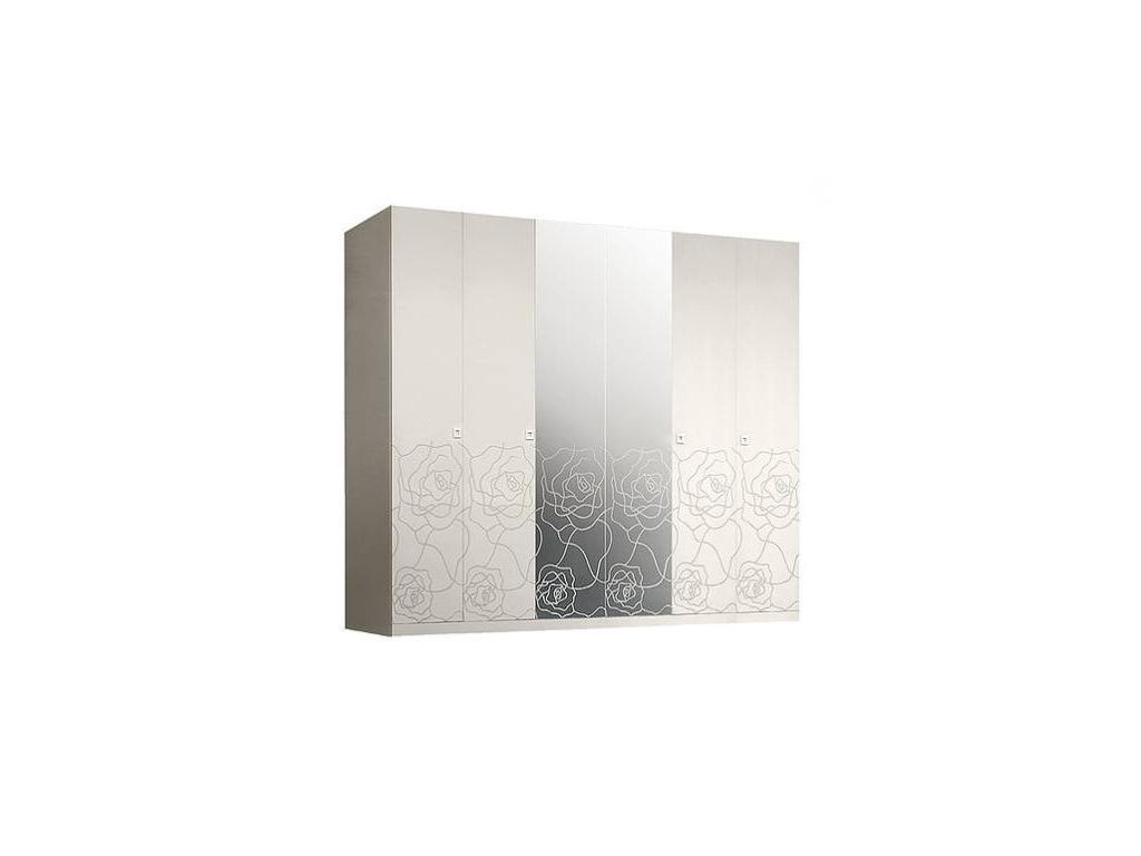 ЯМ: Роза: шкаф 6-ти дверный  с зеркалами (слоновая кость)