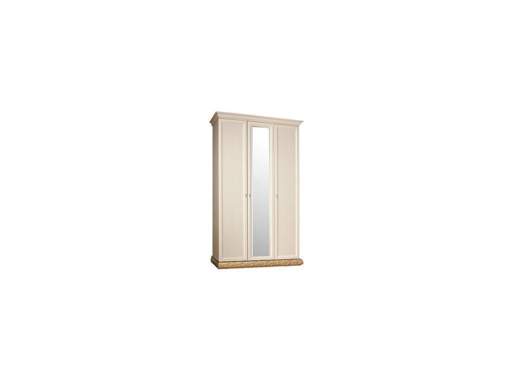 ЯМ: Тиффани: шкаф 3-х дверный  с зеркалом (крем, золото)