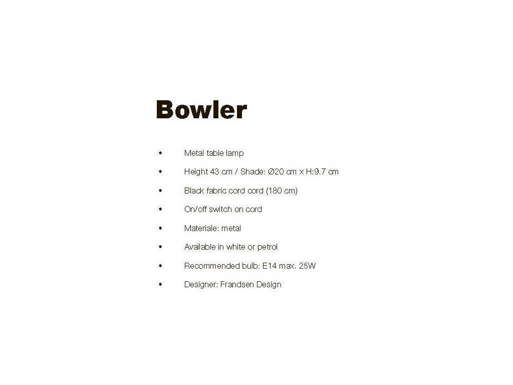 Frandsen: Bowler: лампа настольная  (белый)