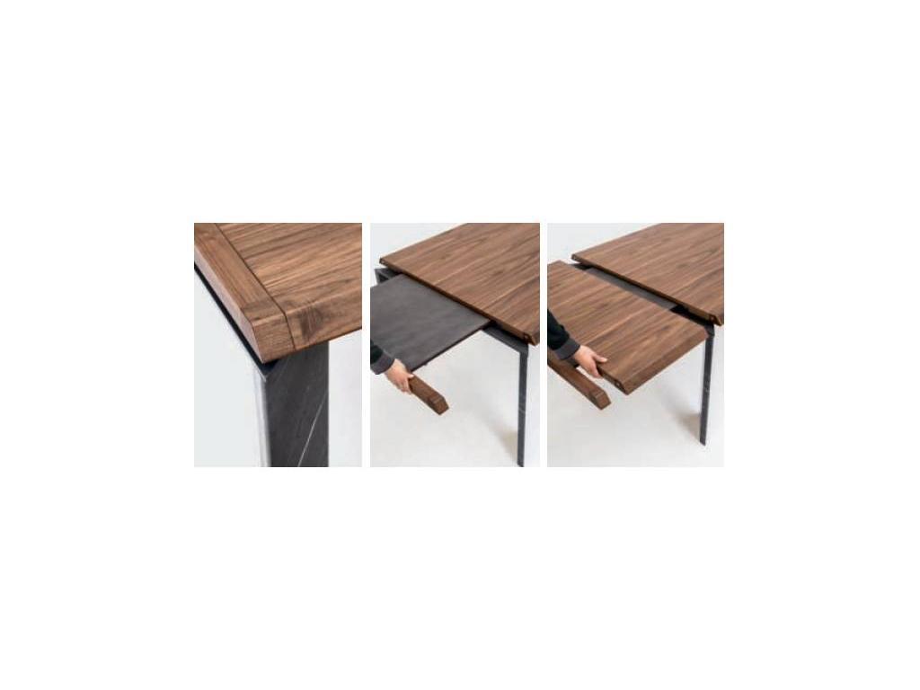 Tonin: Roma: стол обеденный раскладной  (мрамор, темный дуб)