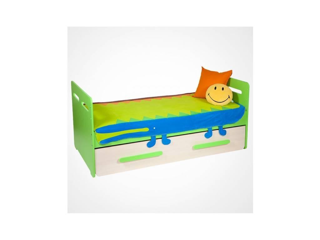 Лесные Мануфактуры: Точка-Тире: кровать 90х190 с выкатным ящиком (зеленый)