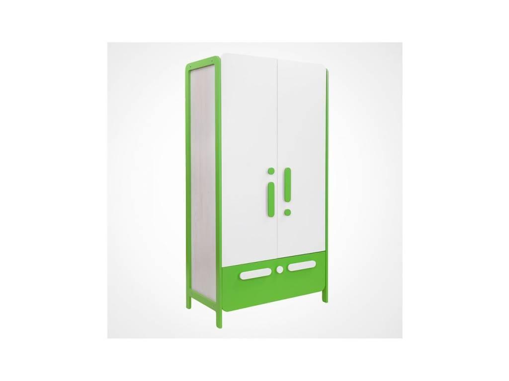 Лесные Мануфактуры: Точка-Тире: шкаф 2-х дверный  (белый, зеленый)