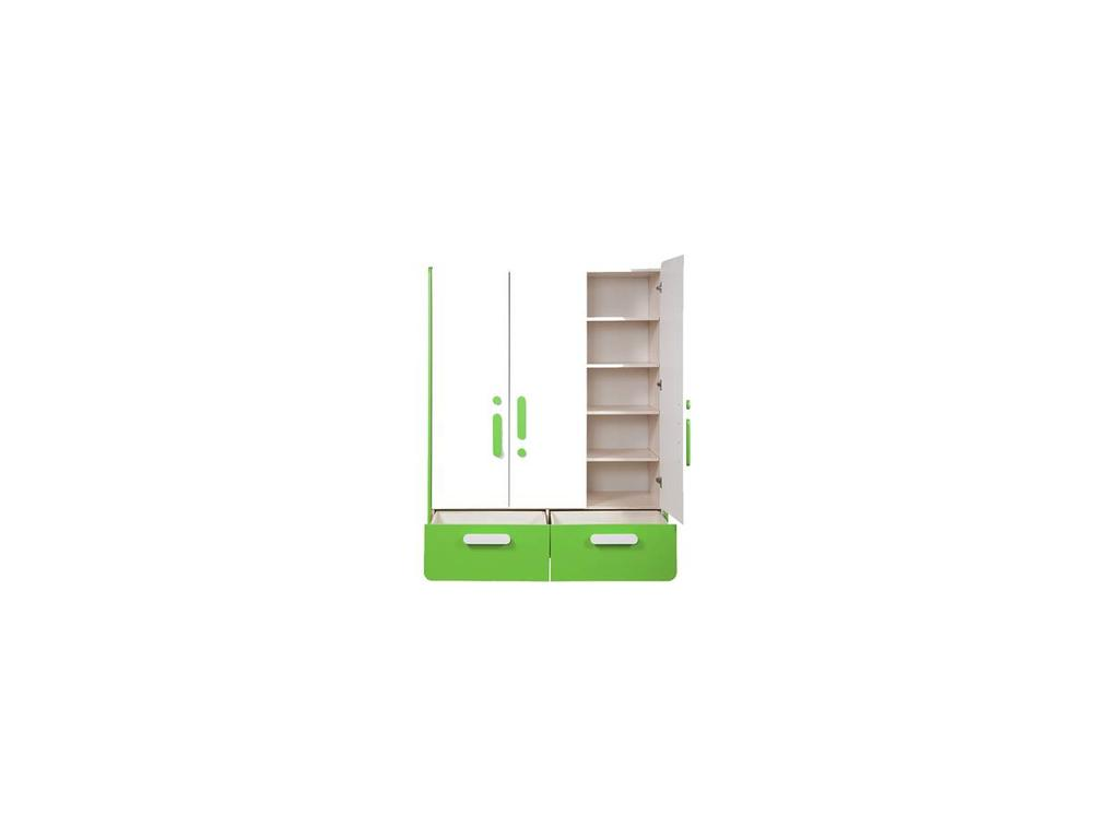 Лесные Мануфактуры: Точка-Тире: шкаф 3-х дверный  (белый, зеленый)