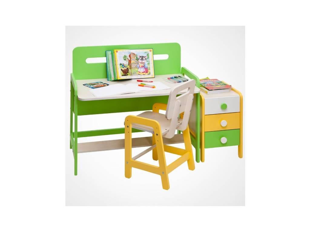 Лесные Мануфактуры: Точка-Тире: стол письменный  регулируемый по высоте (белый, зеленый)