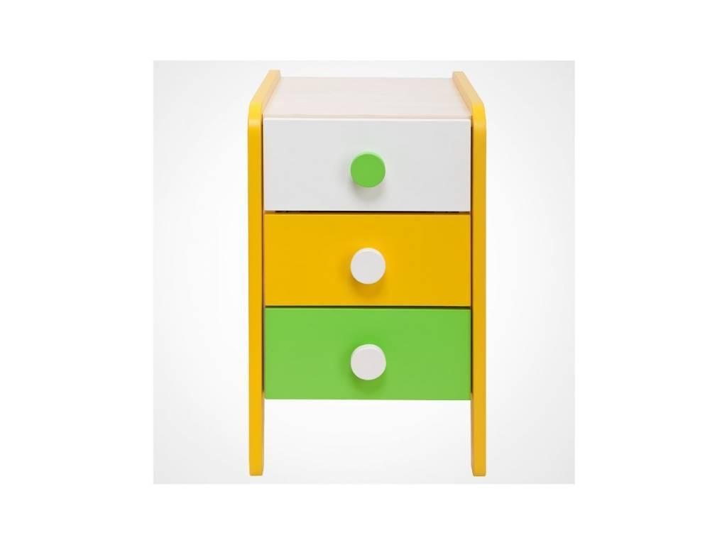 Лесные Мануфактуры: Точка-Тире: тумба 3 ящ. (белый, зеленый, желтый)