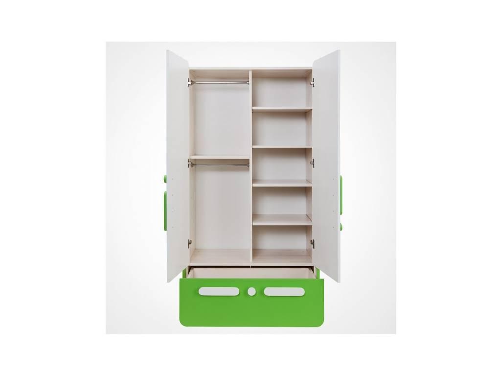 Лесные Мануфактуры: Точка-Тире: шкаф 2-х дверный  (белый, синий)
