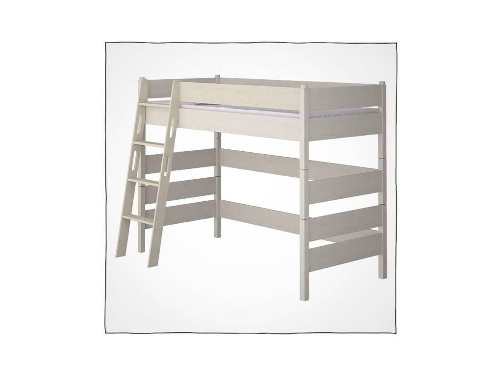Лесные Мануфактуры: Каспер: кровать-чердак  (белый  полупрозрачный)