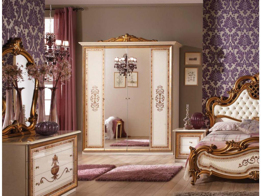 Dia: Анита: шкаф 4-х дверный с зеркалами (беж, золото)