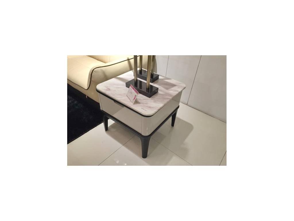 Hemis: стол журнальный  (белый, темный орех, мрамор)