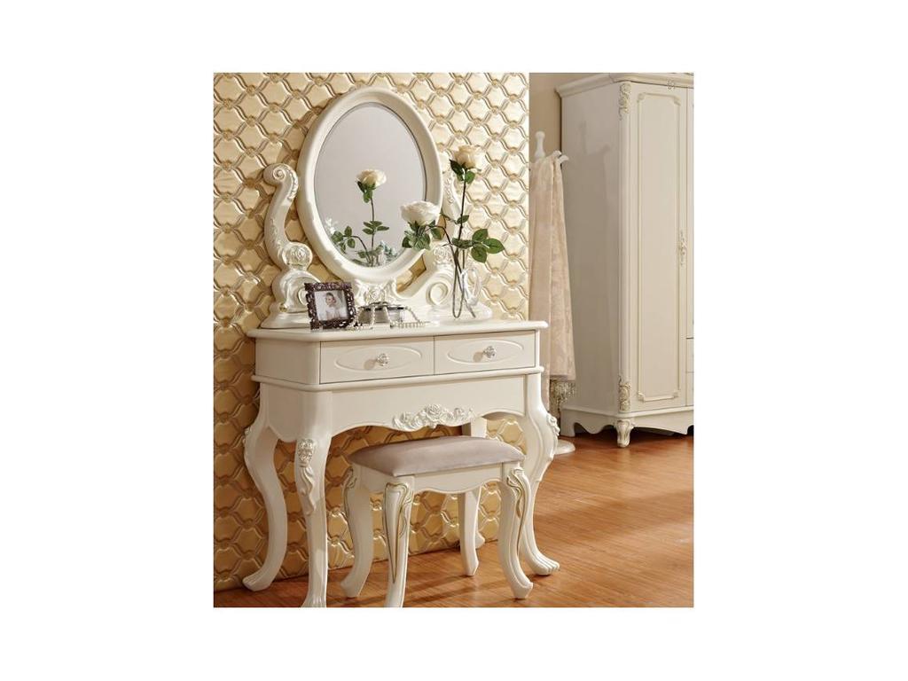 FR: Magdalene: стол туалетный  с зеркалом и пуфом (слоновая кость, серебро)