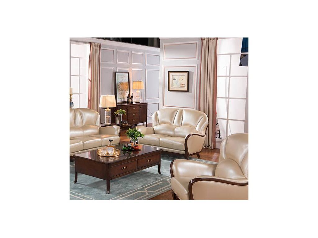 Carpenter: 309: диван 2-х местный  А (орех, кожа 9720)