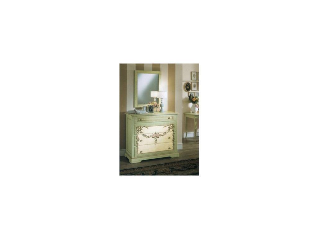 De Luxe: Примавера: комод 4 ящика (олива, беж, ручная роспись)