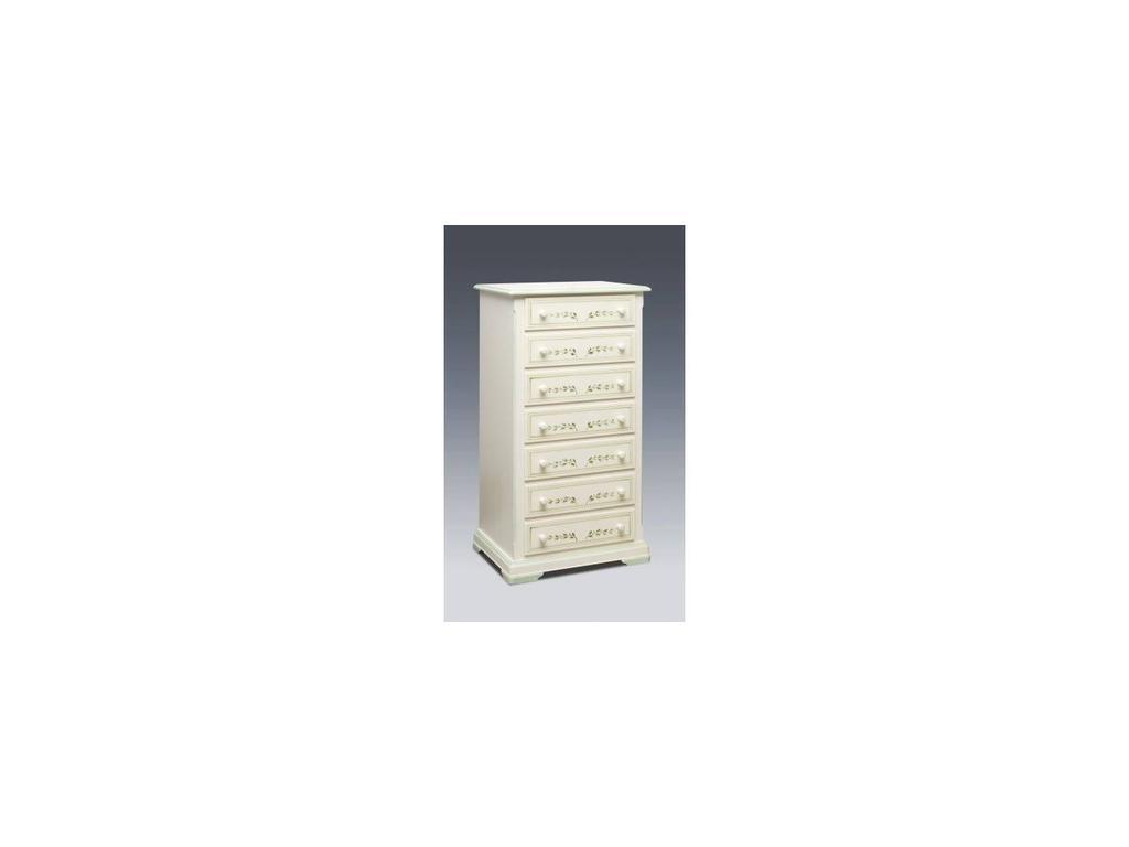 De Luxe: Примавера: комод высокий 7 ящиков (олива, беж, ручная роспись)