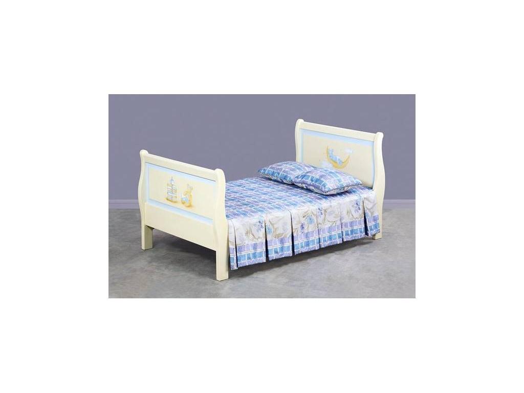 De Luxe: Любимая сказка: кровать «Ладья» 90х150 без изножья (слоновая кость, без росписи)
