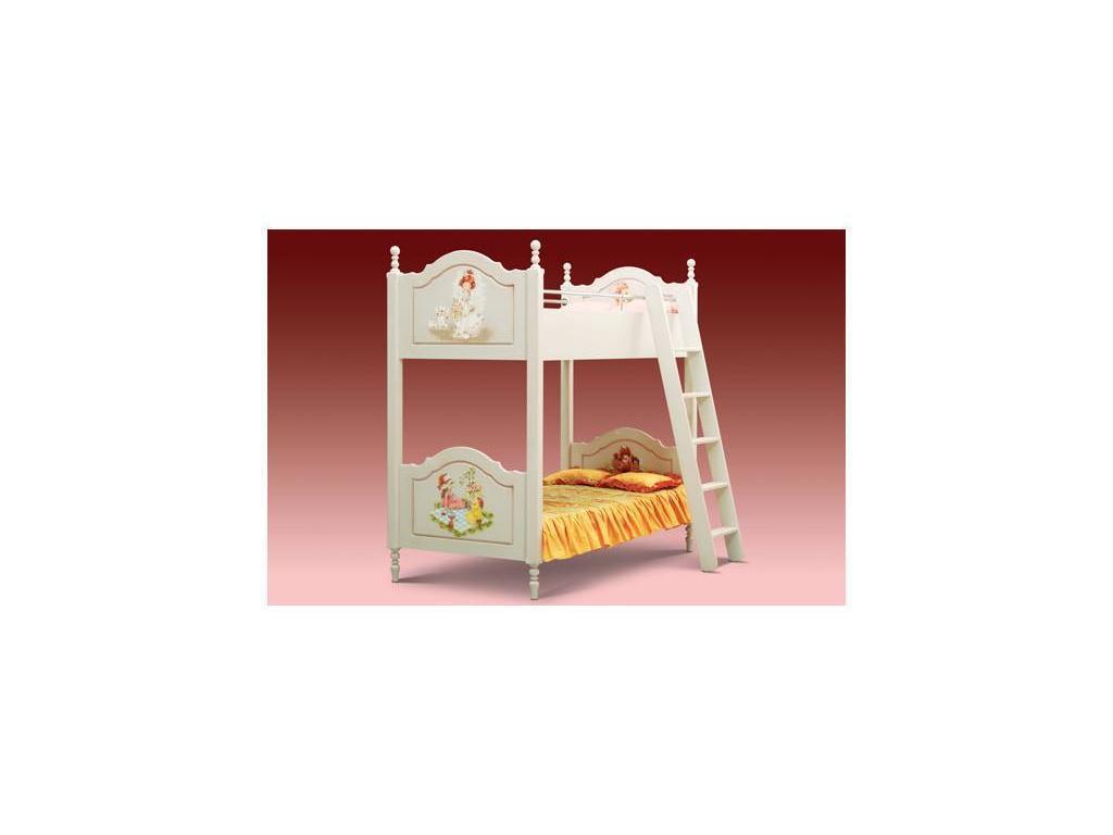 De Luxe: Любимая сказка: кровать двухъярусная 190х90 (слоновая кость, без росписи)