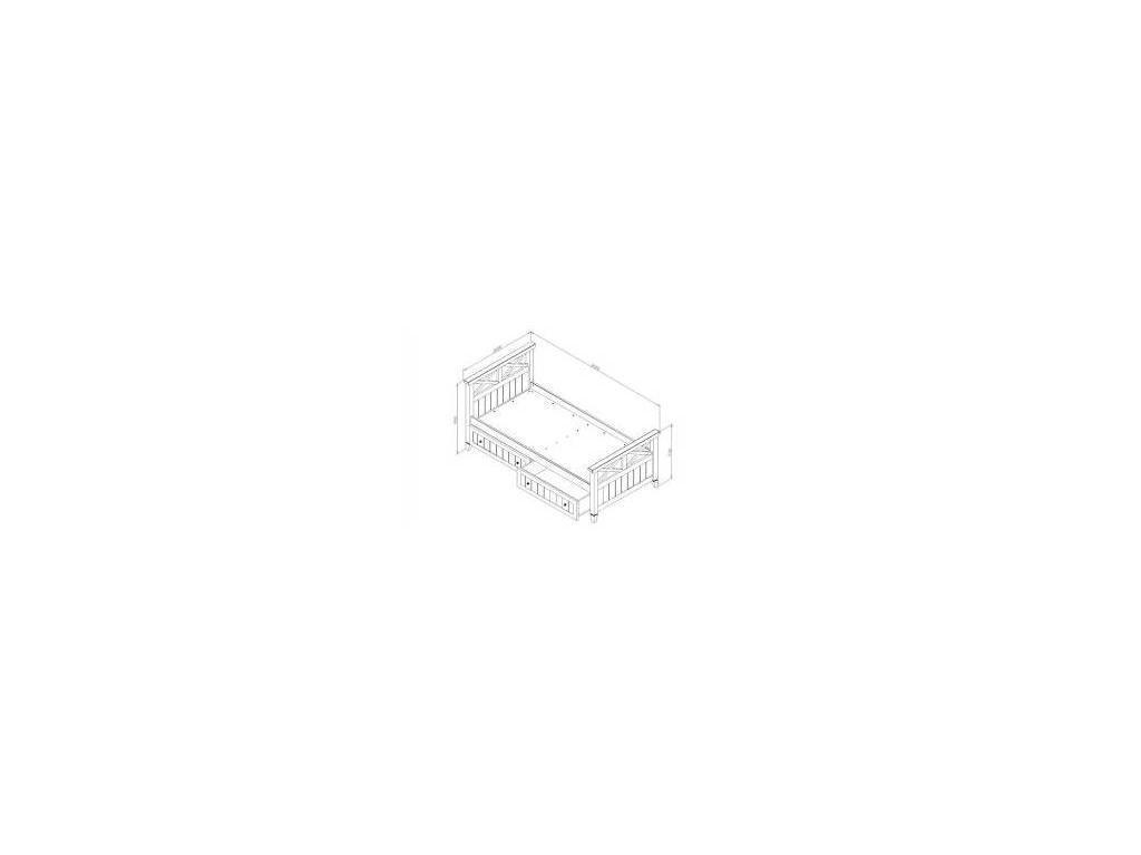 De Luxe: Океан: кровать односпальная 90х200 с ящиками (белый)