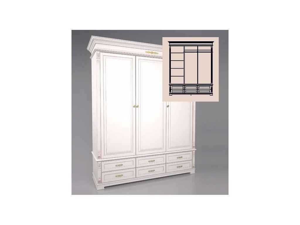 Arco Decor: шкаф 3-х дверный (беж, коричневая патина)