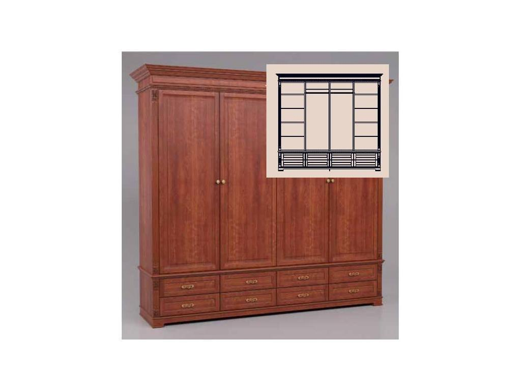 Arco Decor: шкаф 4-х дверный (орех, коричневая патина)