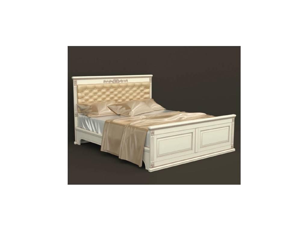 Arco Decor: кровать 200х200 (беж, коричневая патина, экокожа)