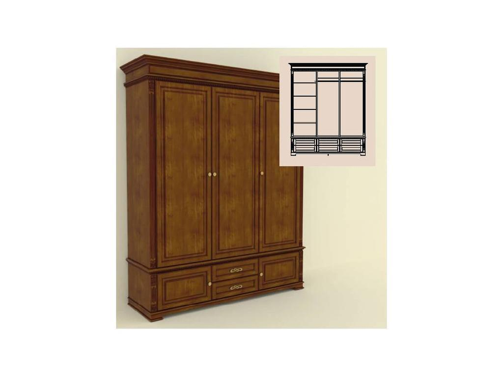 Arco Decor: шкаф 3-х дверный (орех, коричневая патина)