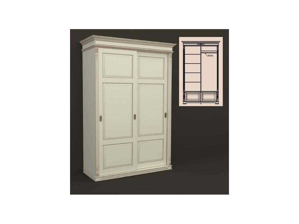 Arco Decor: шкаф 2-х дверный 160см (беж, коричневая патина)
