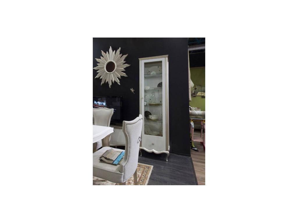 Zzibo Mobili: Венеция: витрина 1 дверная  (белый, белое золото)