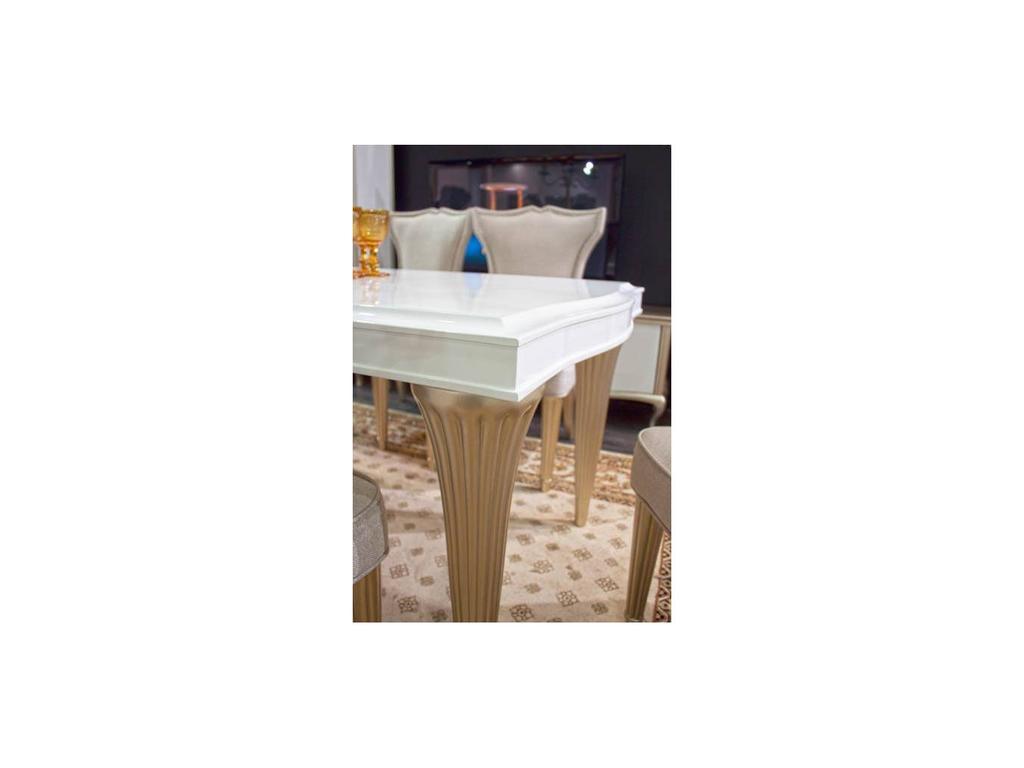 Zzibo Mobili: Венеция: стол обеденный  (белый, белое золото)