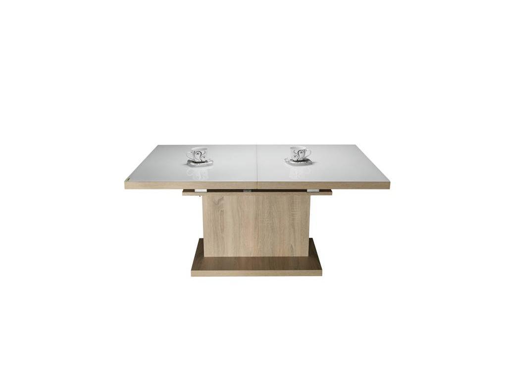 Optimata: стол-трансформер  раскладной (дуб сонома, стекло белое)