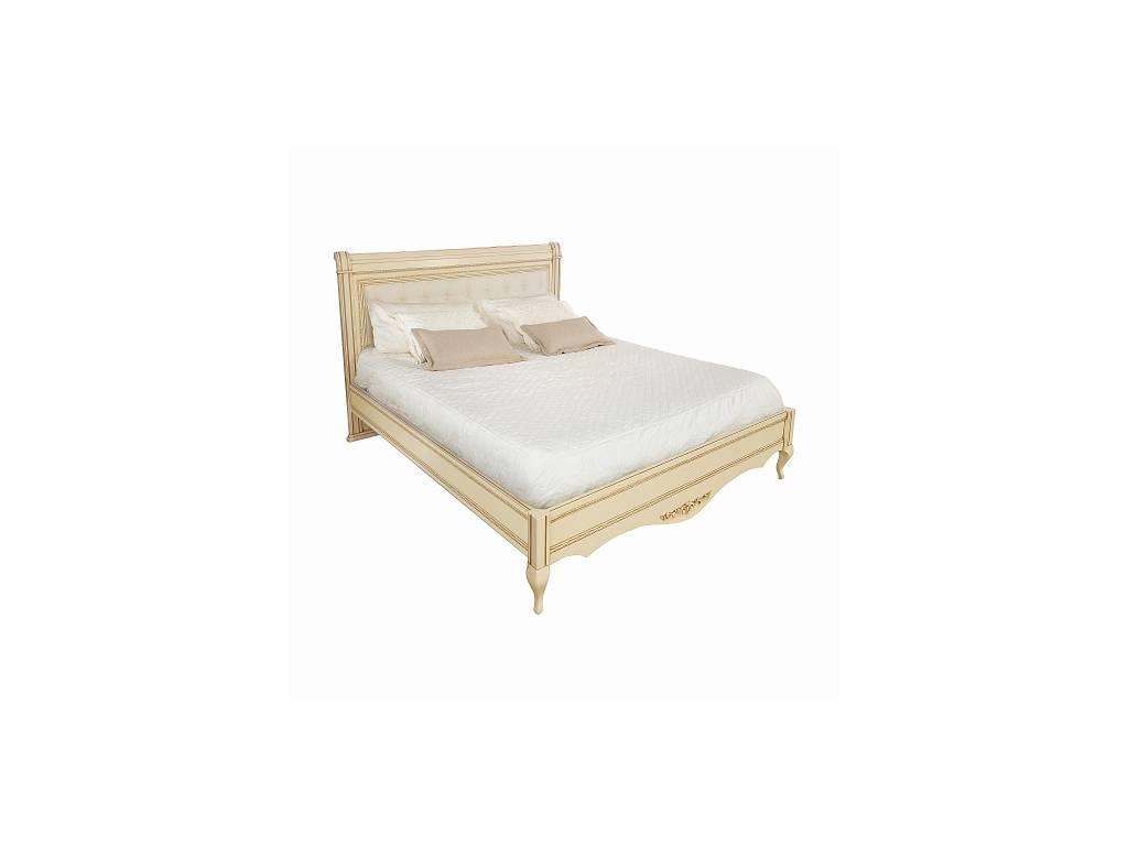 Liberty: Неаполь: кровать 160х200 без изн-я с мягкой спинкой  (ваниль, золото)