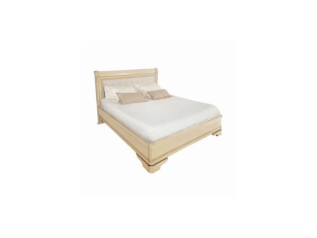 Liberty: Палермо: кровать 160х200 без изн-я с мягкой спинкой  (ваниль, золото)