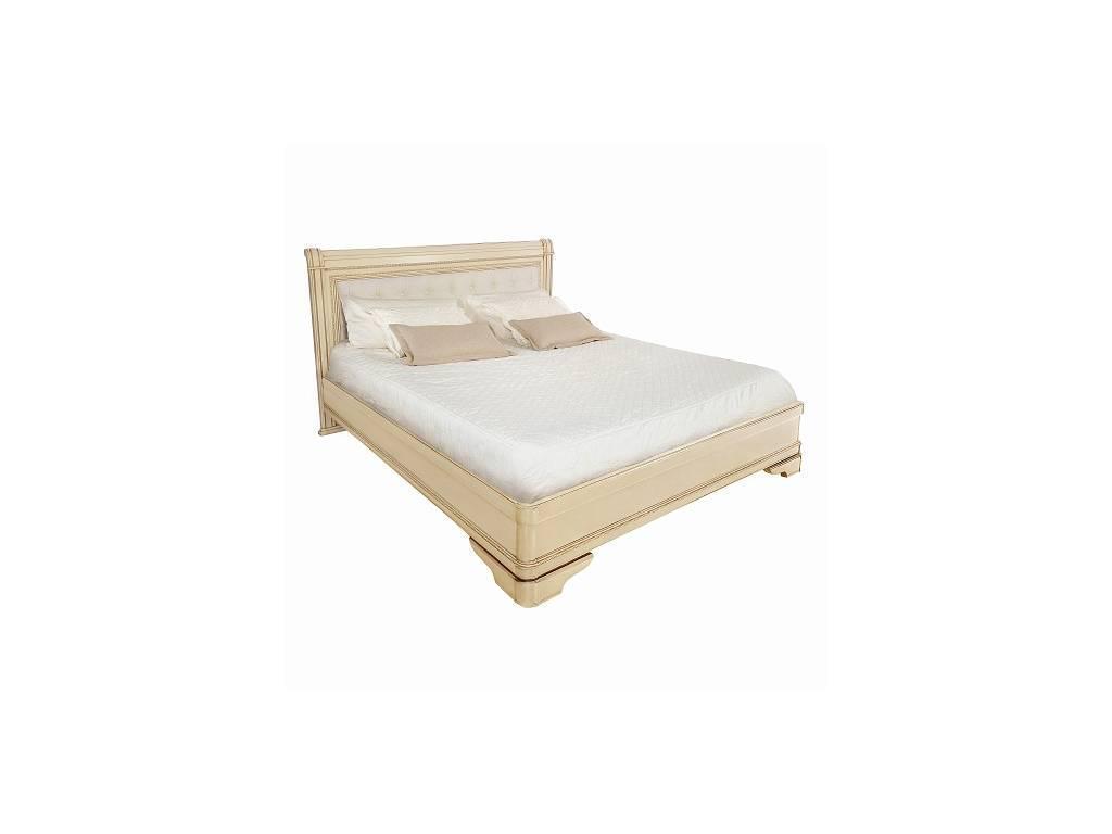 Liberty: Палермо: кровать 180х200 без изн-я с мягкой спинкой  (ваниль, золото)