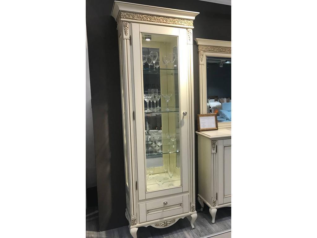 БМ: Неаполь: витрина 1 дверная  левая (ваниль, золото)