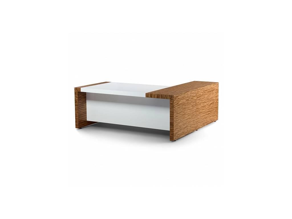 Zzibo Mobili: Tokyo: стол руководителя (белый глянец, матовый зебрано)