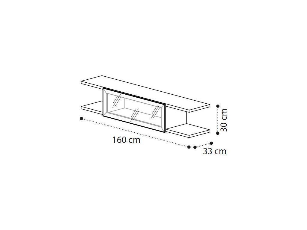 Camelgroup: Ambra: полка навесная со стеклянной втавкой (янтарная береза)