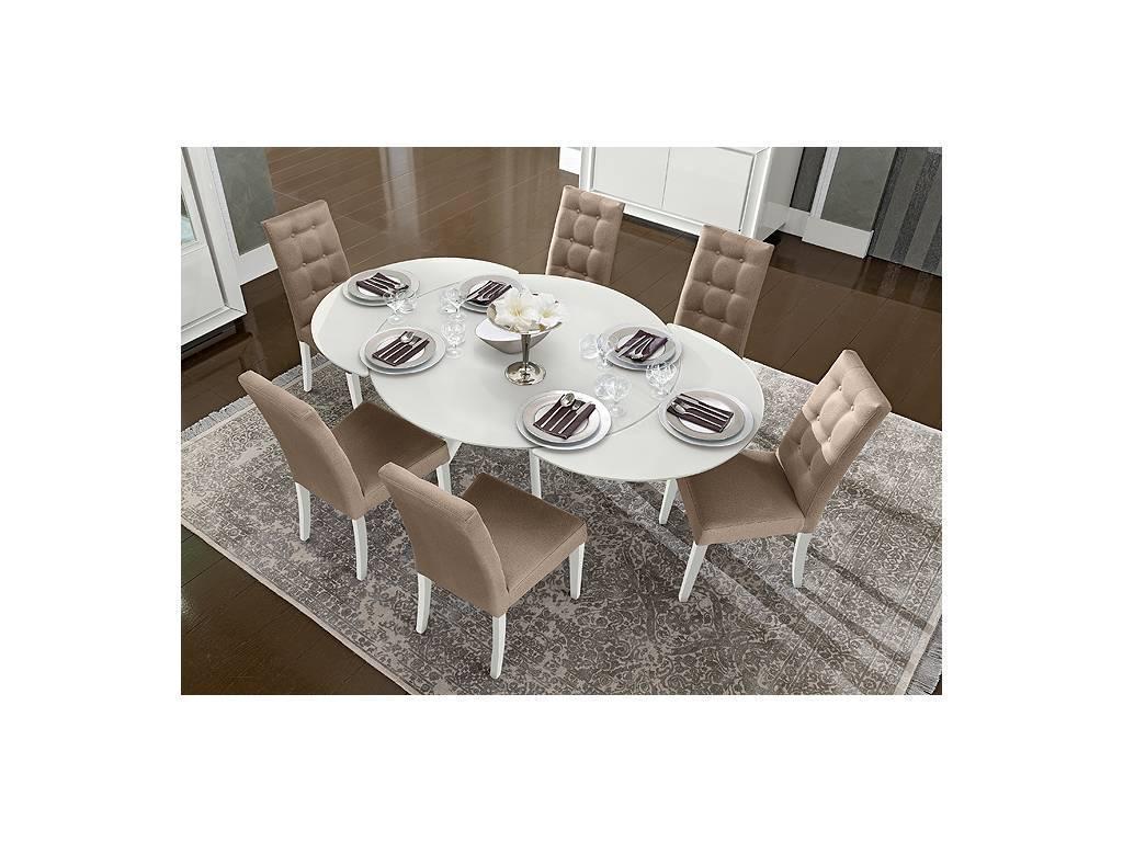 Camelgroup: Dama: стол обеденный круглый раскладной (белый)