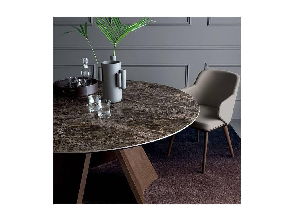 Calligaris: Icaro: стол обеденный  (темный мрамор, орех)