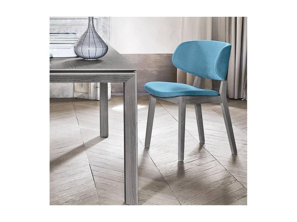 Calligaris: Claire: стул  (шпон смок, ткань синий)