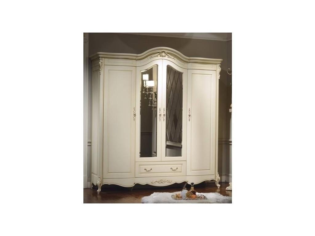 HFI: Милано: шкаф 4 дверный  с зеркалами (слоновая кость)