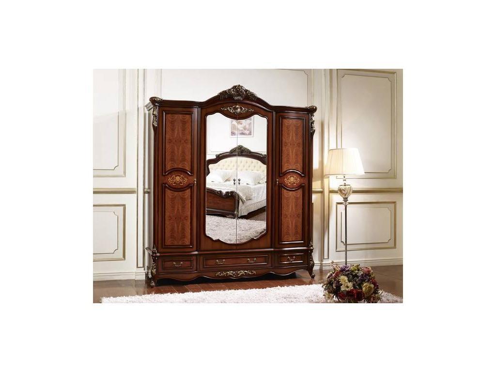 HFI: Аманда: шкаф 4 дверный  с зеркалами (темный орех, золото)
