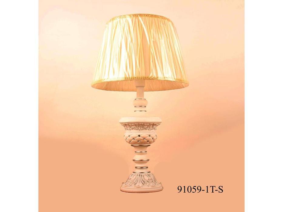 Лампа настольная 91059/1Т-S  (белая ковка/хрусталь)