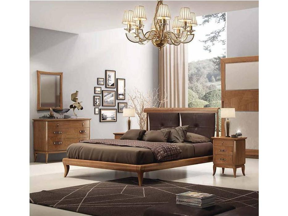 F.lli Pistolesi: Epoca: кровать 165х200  (canaletto noce, кожа)