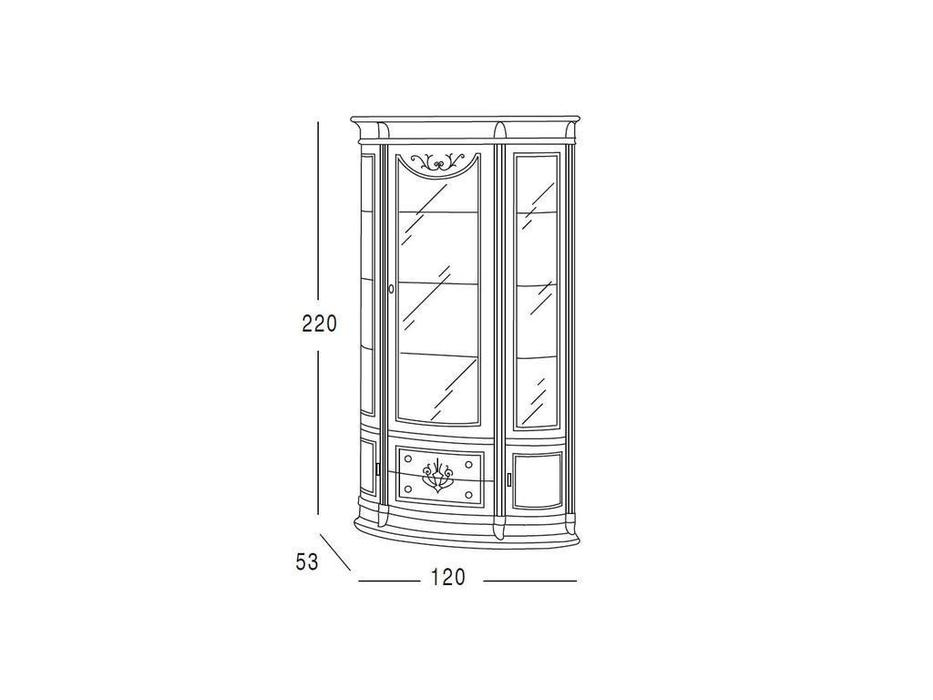 Vicente Zaragoza: Калифорния 31: витрина 1 дверная  120см (белый, золото)
