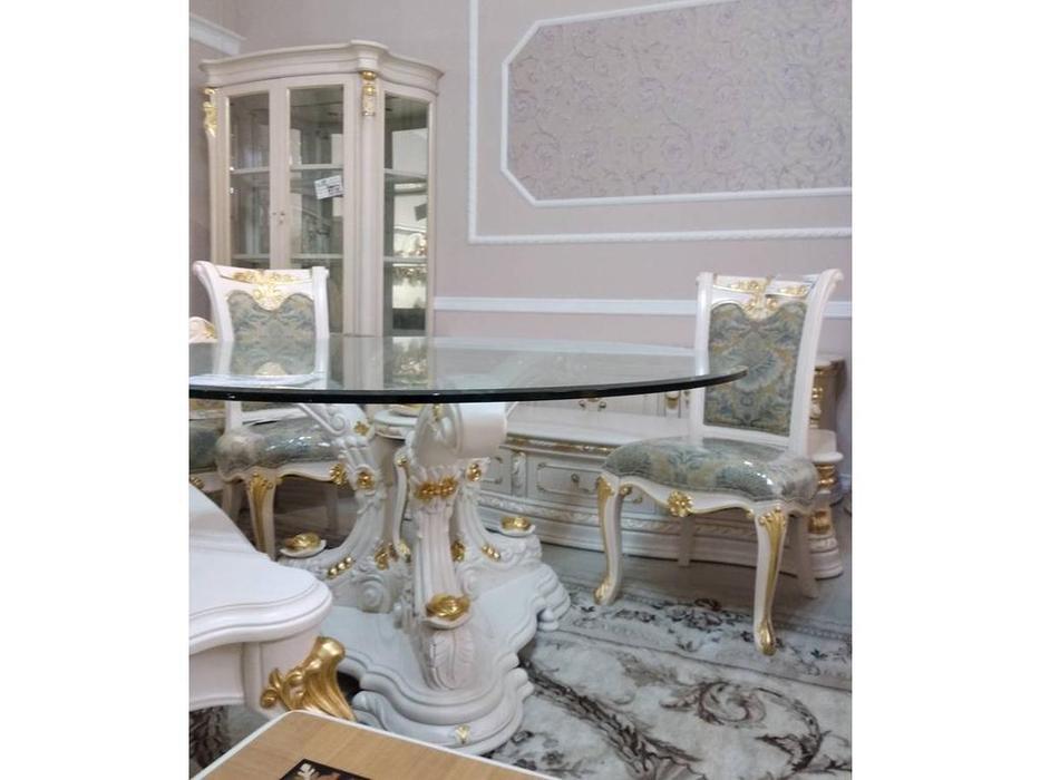 Carpenter: Изабелла: стол обеденный круглый (стекло)  (белый, серебро)
